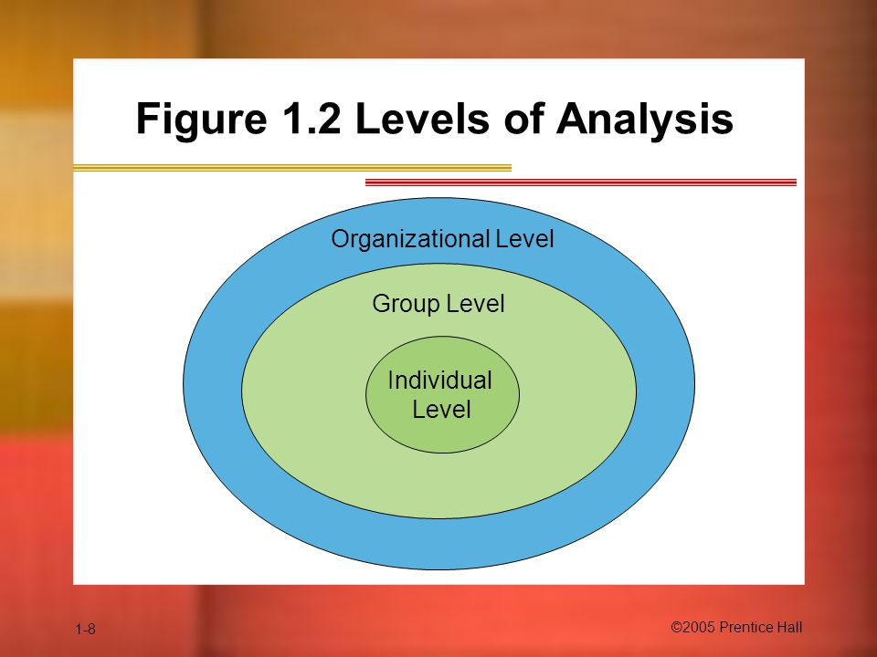 1-8 ©2005 Prentice Hall Figure 1.2 Levels of Analysis Group Level Individual Level Organizational Level
