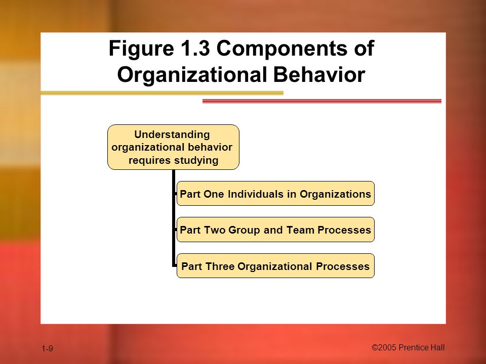 1-9 ©2005 Prentice Hall Figure 1.3 Components of Organizational Behavior Understanding organizational behavior requires studying Part One Individuals in Organizations Part Two Group and Team Processes Part Three Organizational Processes