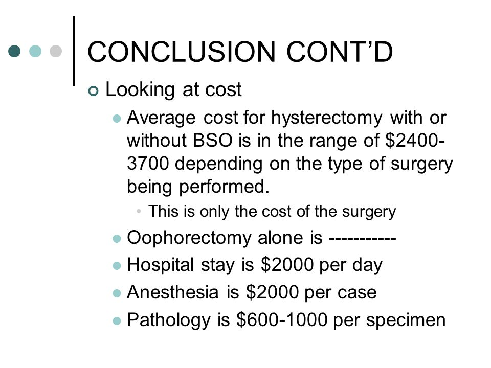 CONCLUSION CONT'D Looking at cost Average cost for hysterectomy with or without BSO is in the range of $2400- 3700 depending on the type of surgery being performed.