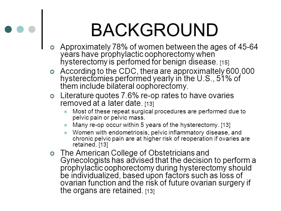 CONCLUSION CONT'D Dr Parker et al designed a model to study the major risks and benefits related to the decision to have prophylactic bilateral oophorectomy at the time of hysterectomy for benign disease in women who have average risk of ovarian cancer.