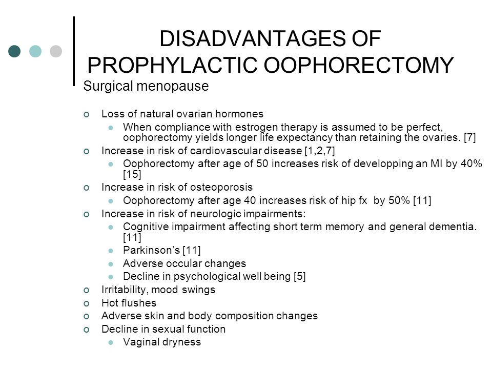 DISADVANTAGES OF PROPHYLACTIC OOPHORECTOMY Surgical menopause Loss of natural ovarian hormones When compliance with estrogen therapy is assumed to be perfect, oophorectomy yields longer life expectancy than retaining the ovaries.