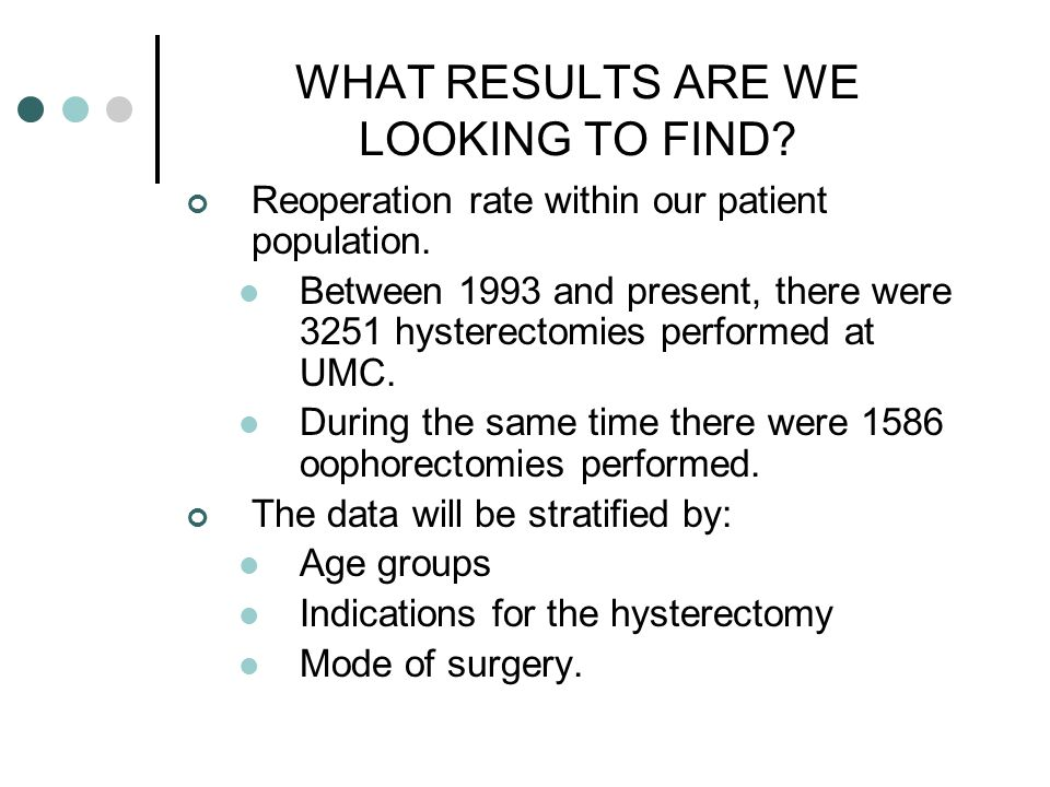 WHAT RESULTS ARE WE LOOKING TO FIND? Reoperation rate within our patient population. Between 1993 and present, there were 3251 hysterectomies performe