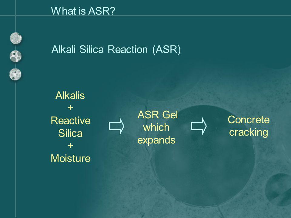 1. Aggregate in solution, pre-ASR damage Creation of alkali-silica gel