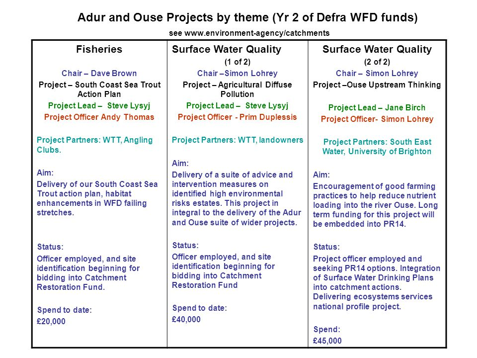 Adur and Ouse Projects by theme (Yr 2 of Defra WFD funds) see www.environment-agency/catchments Fisheries Chair – Dave Brown Project – South Coast Sea Trout Action Plan Project Lead – Steve Lysyj Project Officer Andy Thomas Project Partners: WTT, Angling Clubs.
