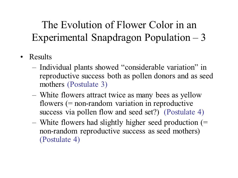 "The Evolution of Flower Color in an Experimental Snapdragon Population – 3 Results –Individual plants showed ""considerable variation"" in reproductive"