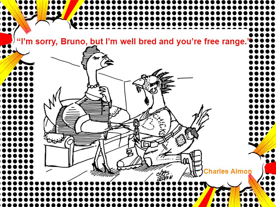 """I'm sorry, Bruno, but I'm well bred and you're free range."" Charles Almon"