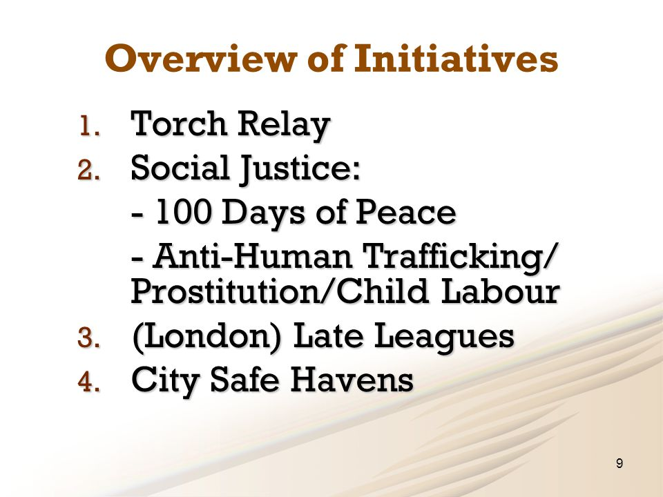 Overview of Initiatives 1. Torch Relay 2.