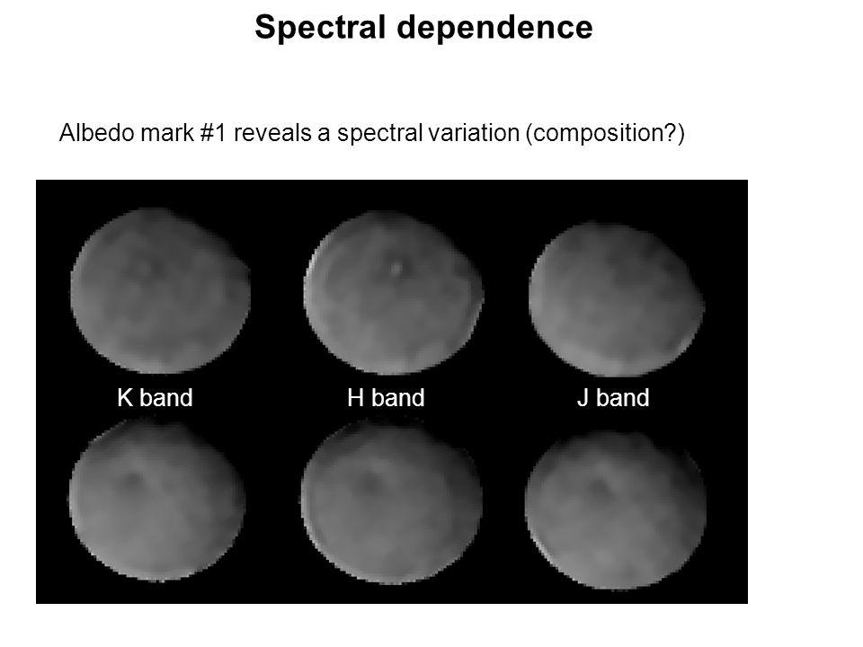 K band Spectral dependence H bandJ band Albedo mark #1 reveals a spectral variation (composition )