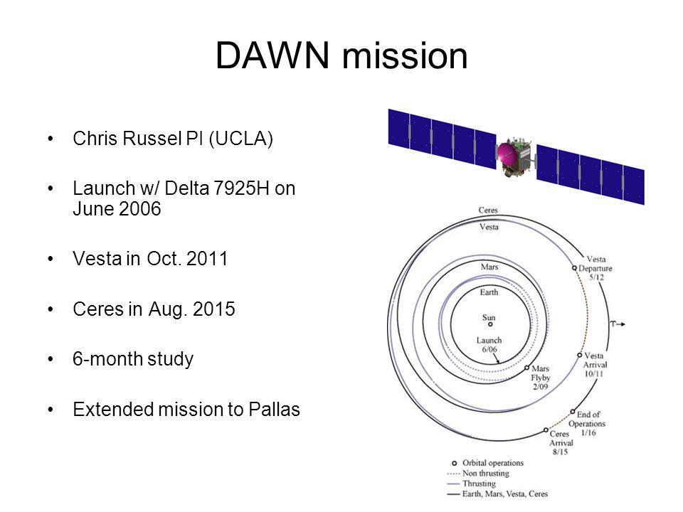 DAWN mission Chris Russel PI (UCLA) Launch w/ Delta 7925H on June 2006 Vesta in Oct.