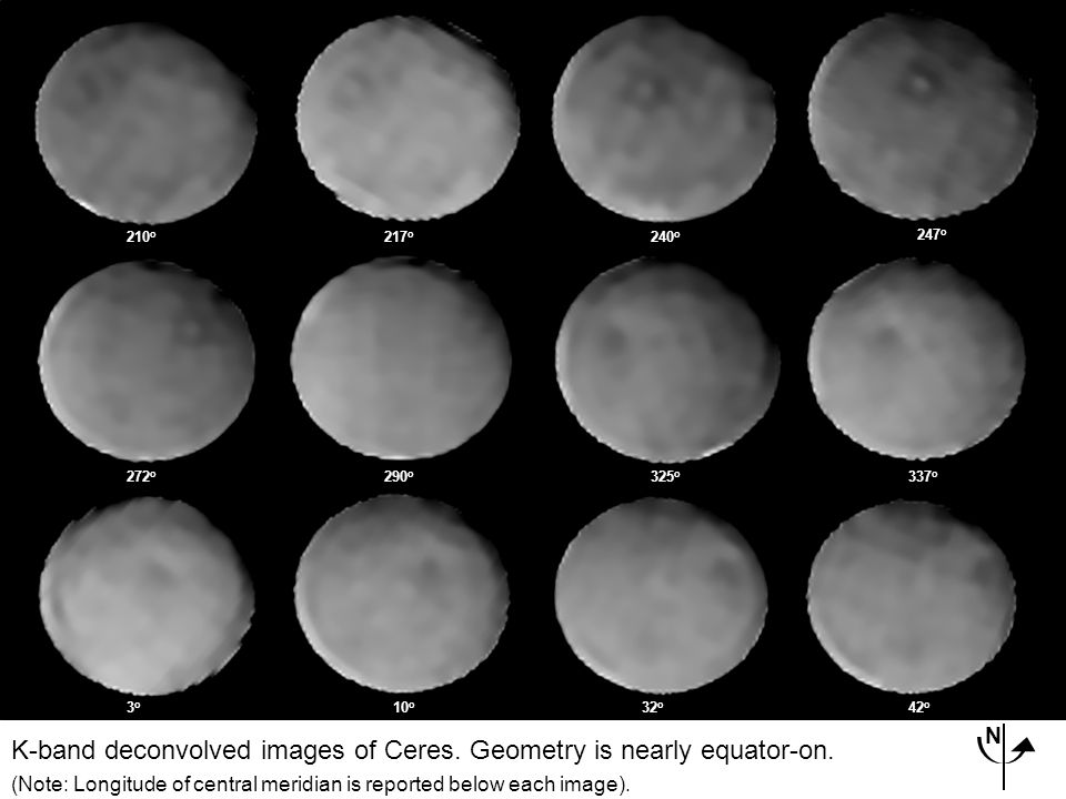 210 o 217 o 240 o 247 o 272 o 290 o 325 o 337 o 3o3o 10 o 32 o 42 o K-band deconvolved images of Ceres.