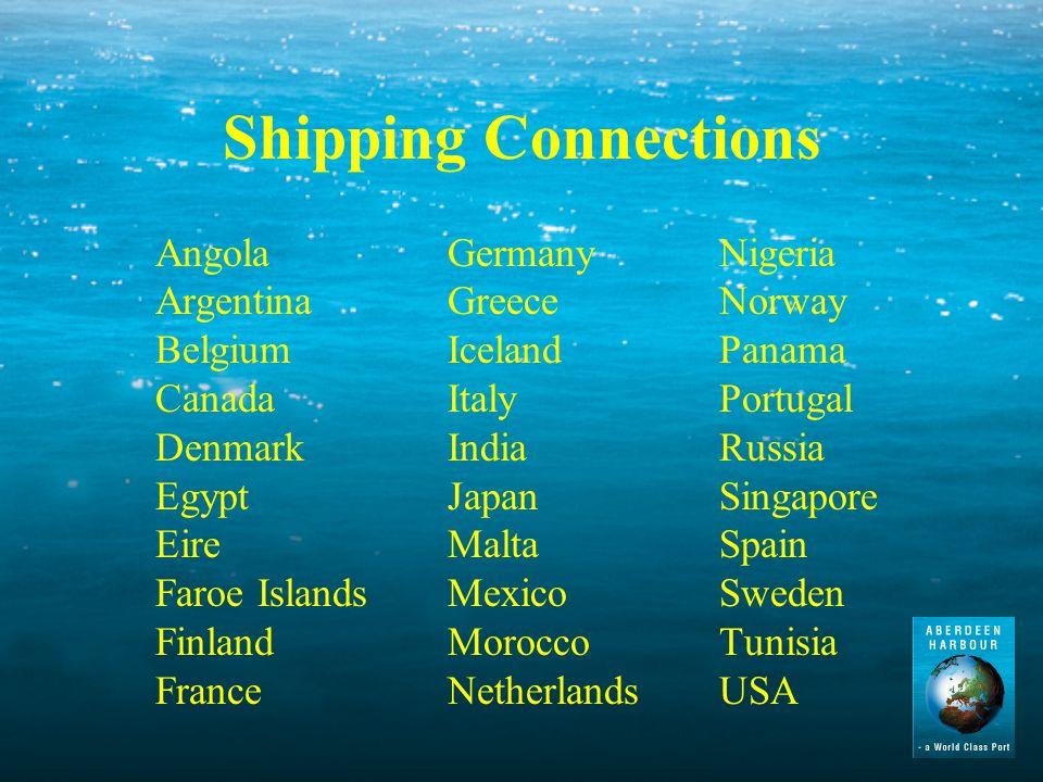 Shipping Connections AngolaGermanyNigeria ArgentinaGreeceNorway BelgiumIcelandPanama CanadaItalyPortugal DenmarkIndiaRussia EgyptJapanSingapore EireMaltaSpain Faroe IslandsMexicoSweden FinlandMoroccoTunisia FranceNetherlandsUSA