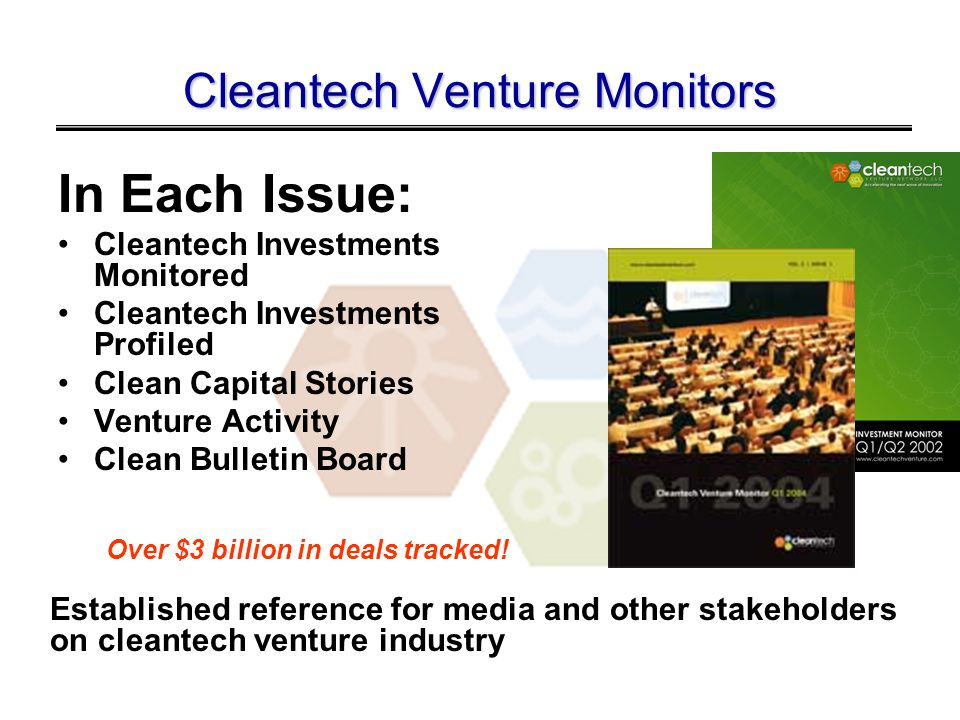 INVESTMENT BY SEGMENT 2002-2003 Materials and Nanotechnology, $406,312,000, 16% Manufacturing/Industrial, $145,052,900, 6% Water Purification and Management, $115,276,900, 5% Materials Recovery and Recycling, $208,658,538, 8% Transportation and Logistics, $69,522,420, 3% Environmental IT, $2,640,000, 0% Energy Related, $1,058,228,131, 43% Agriculture and Nutrition, $114,160,000, 5% Enabling Technologies, $229,253,400, 9% Air Quality, $131,557,500, 5%