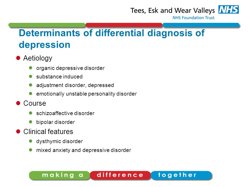 Determinants of differential diagnosis of depression Aetiology organic depressive disorder substance induced adjustment disorder, depressed emotionally unstable personality disorder Course schizoaffective disorder bipolar disorder Clinical features dysthymic disorder mixed anxiety and depressive disorder