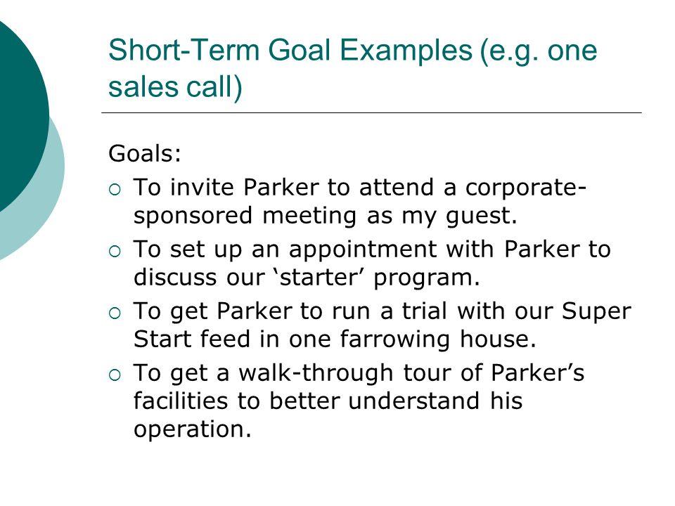 Short-Term Goal Examples (e.g.