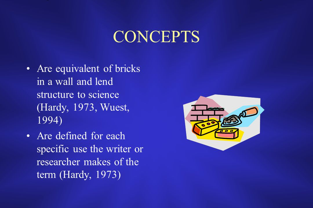 CONCEPTS Are equivalent of bricks in a wall and lend structure to science (Hardy, 1973, Wuest, 1994) Are defined for each specific use the writer or researcher makes of the term (Hardy, 1973)