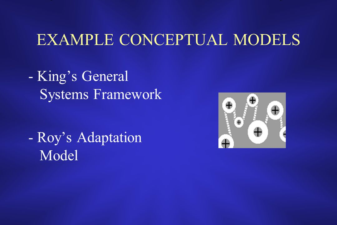 EXAMPLE CONCEPTUAL MODELS - King's General Systems Framework - Roy's Adaptation Model
