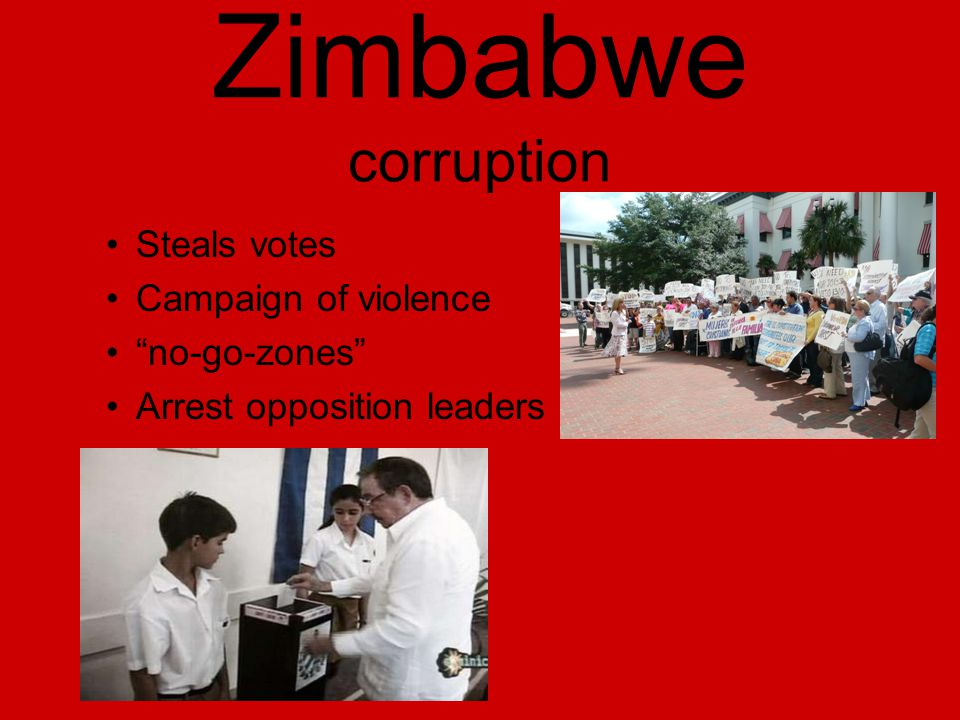 Zimbabwe corruption Steals votes Campaign of violence no-go-zones Arrest opposition leaders