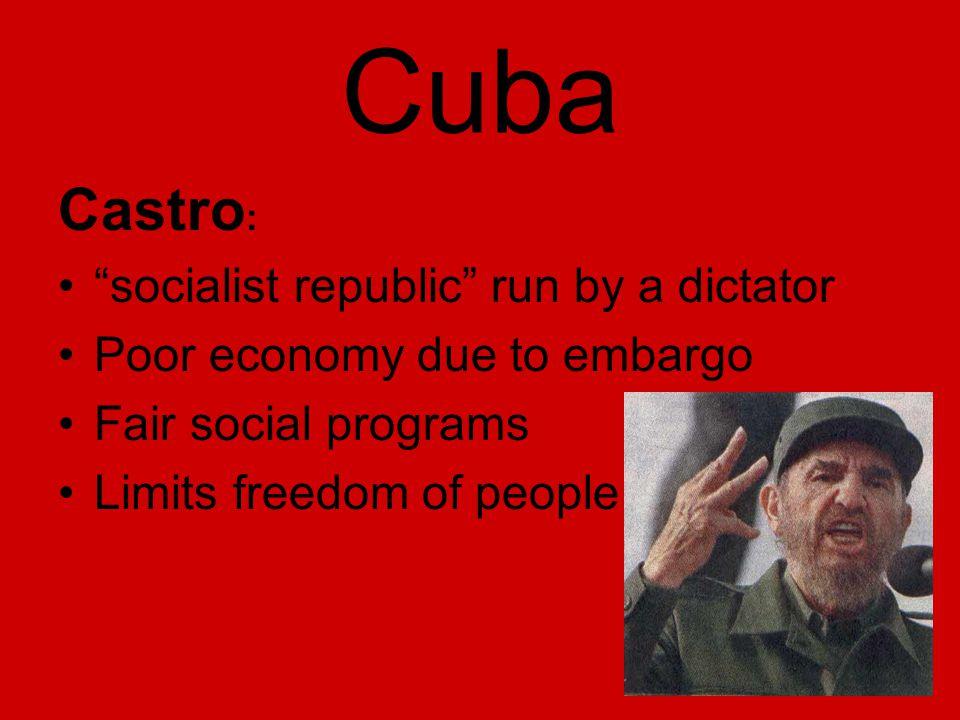 "Cuba Castro : ""socialist republic"" run by a dictator Poor economy due to embargo Fair social programs Limits freedom of people"