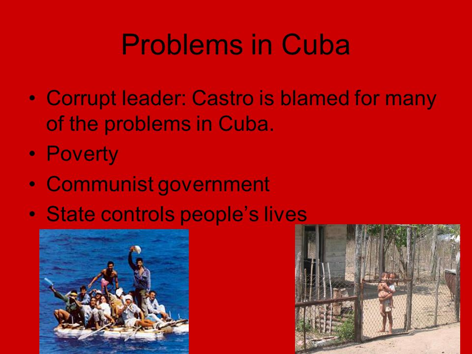 Problems in Cuba Corrupt leader: Castro is blamed for many of the problems in Cuba.