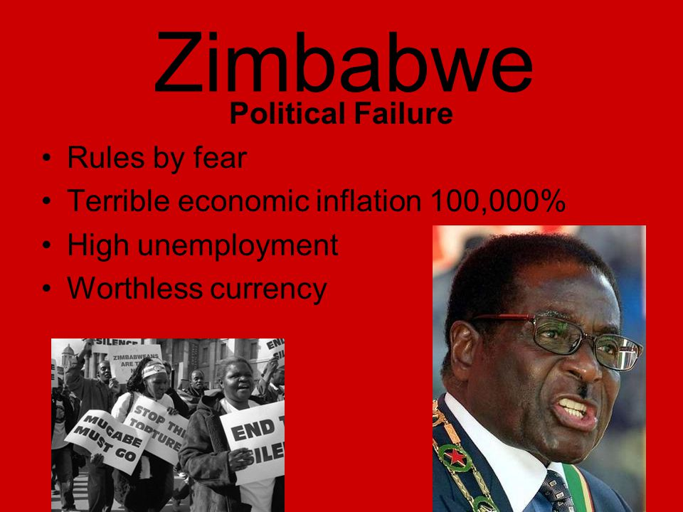 Zimbabwe Political Failure Rules by fear Terrible economic inflation 100,000% High unemployment Worthless currency