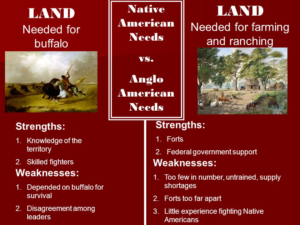 Native American Needs vs. Anglo American Needs LAND Needed for buffalo Strengths: 1.Knowledge of the territory 2.Skilled fighters Weaknesses: 1.Depend