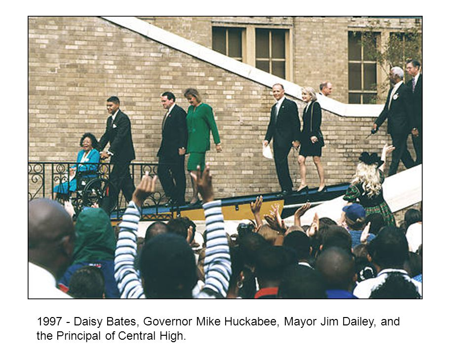 1997 - Daisy Bates, Governor Mike Huckabee, Mayor Jim Dailey, and the Principal of Central High.
