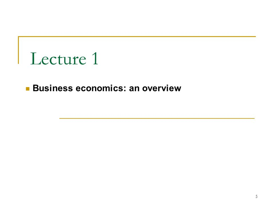 5 Lecture 1 Business economics: an overview