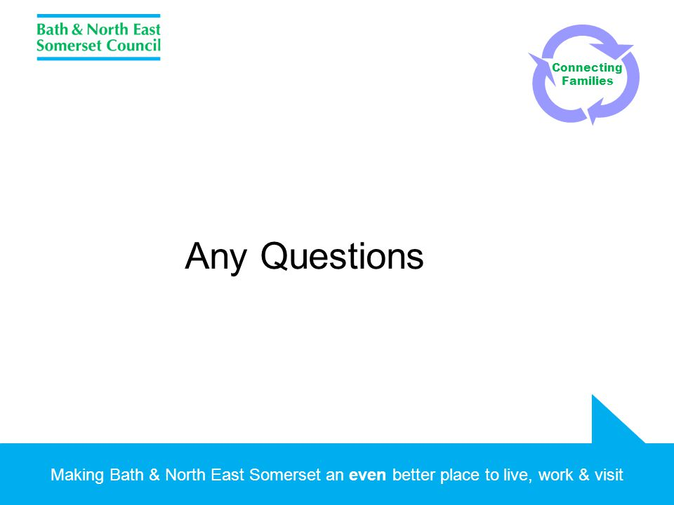 Making Bath & North East Somerset an even better place to live, work & visit Any Questions Connecting Families