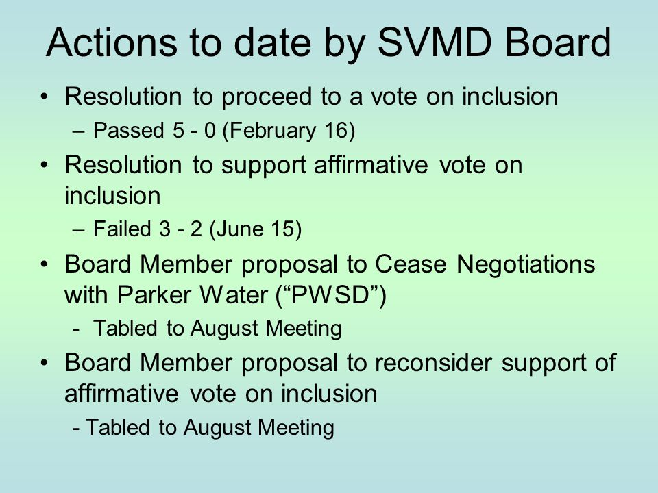 Actions to date by SVMD Board Resolution to proceed to a vote on inclusion –Passed 5 - 0 (February 16) Resolution to support affirmative vote on inclu