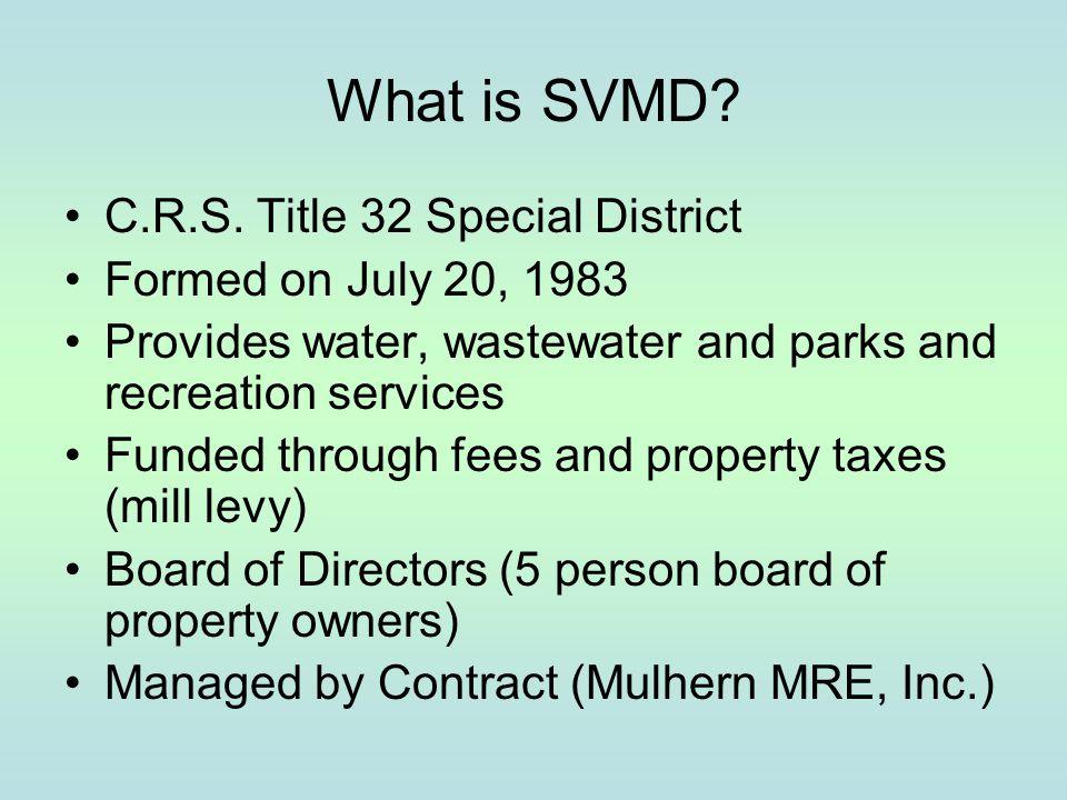 SVMD Service Area SVMD Boundaries Outside Service Contracts - Compark Business Campus Metro District -E-470 Potomac (Dove Ridge) -Lincoln Park Metro District