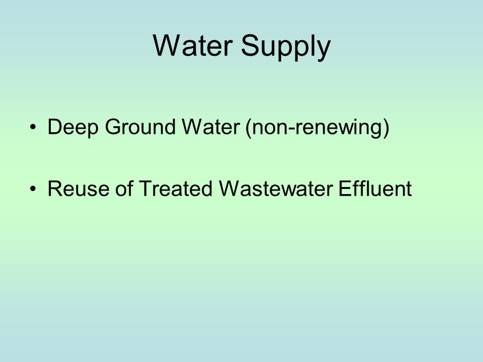 Water Treatment and Distribution Deep Groundwater Wells Water Treatment Plant Storage Tanks Potable Distribution System