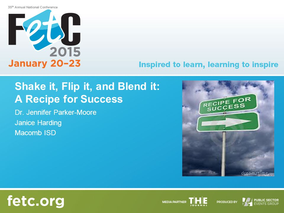 Shake it, Flip it, and Blend it: A Recipe for Success Dr. Jennifer Parker-Moore Janice Harding Macomb ISD