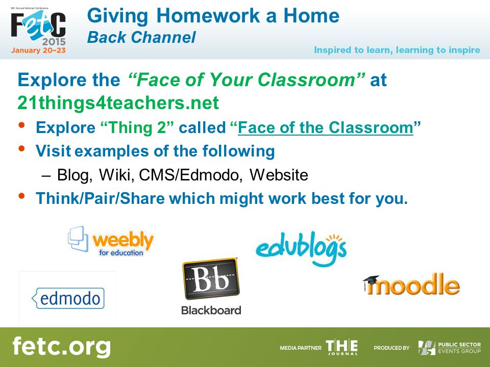 """Giving Homework a Home Back Channel Explore the """"Face of Your Classroom"""" at 21things4teachers.net Explore """"Thing 2"""" called """"Face of the Classroom""""Face"""