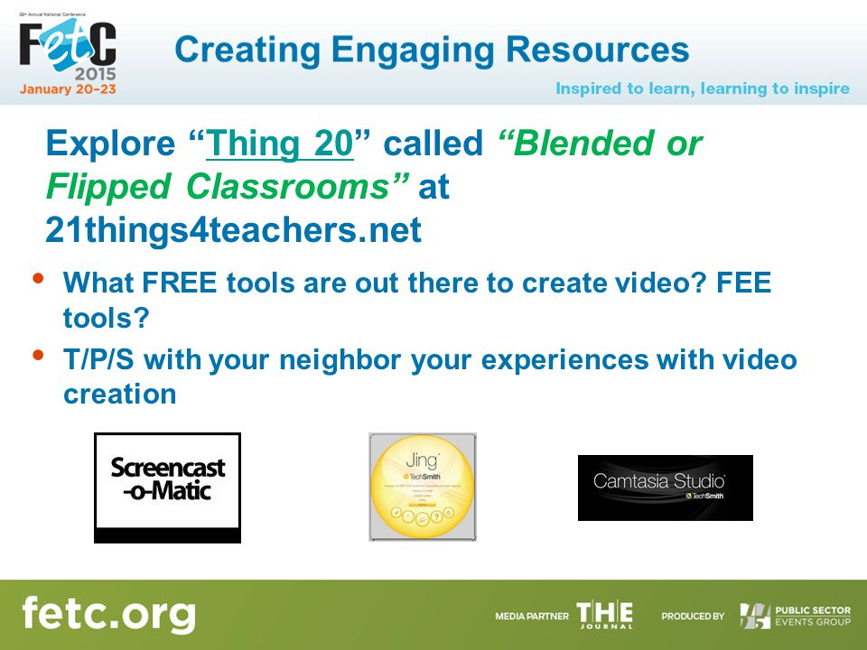 Explore Thing 20 called Blended or Flipped Classrooms at 21things4teachers.netThing 20 What FREE tools are out there to create video.