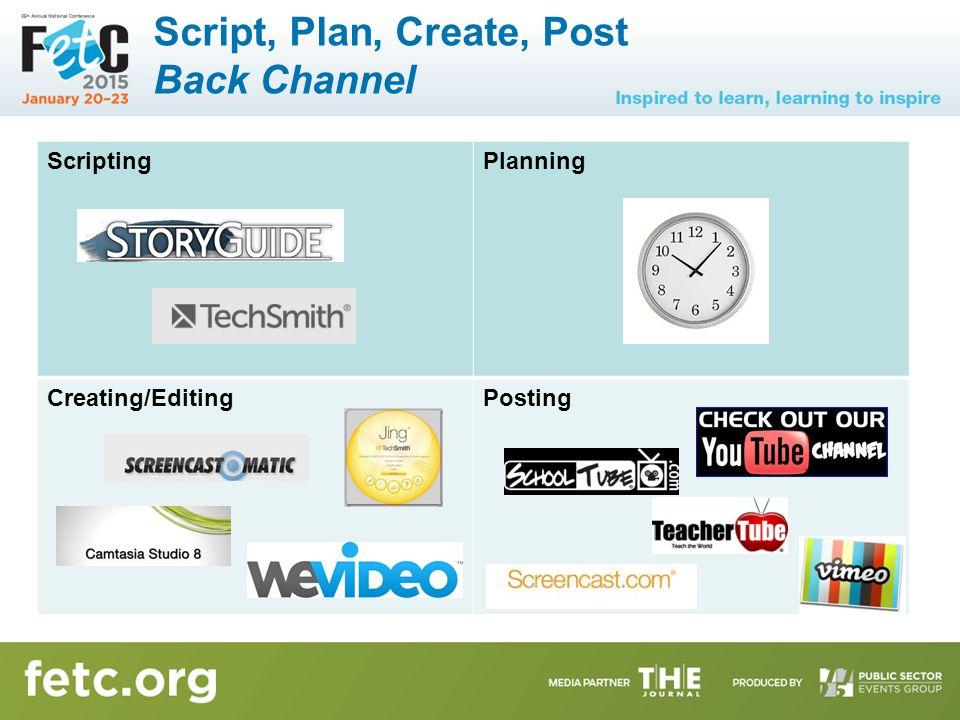 Script, Plan, Create, Post Back Channel ScriptingPlanning Creating/EditingPosting