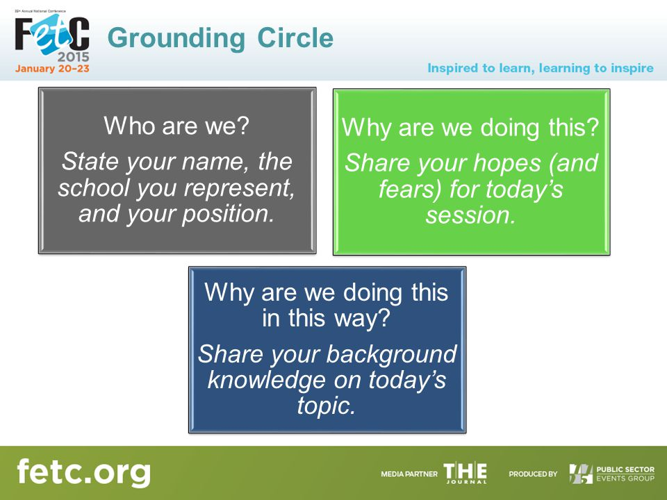 Grounding Circle Who are we.State your name, the school you represent, and your position.