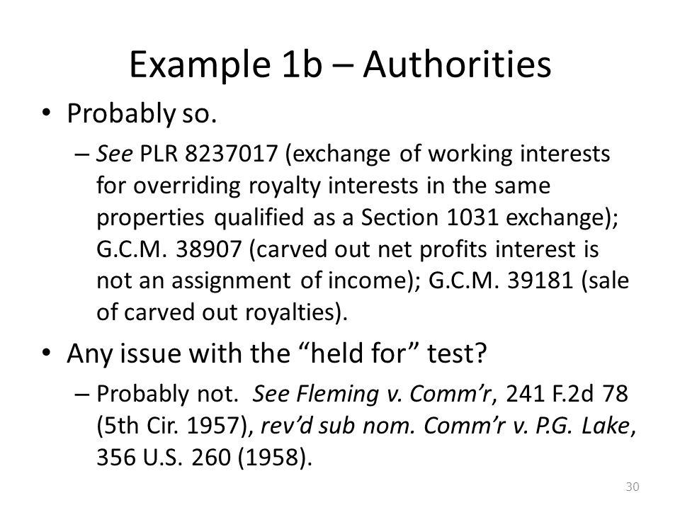 Example 1b – Authorities Probably so.