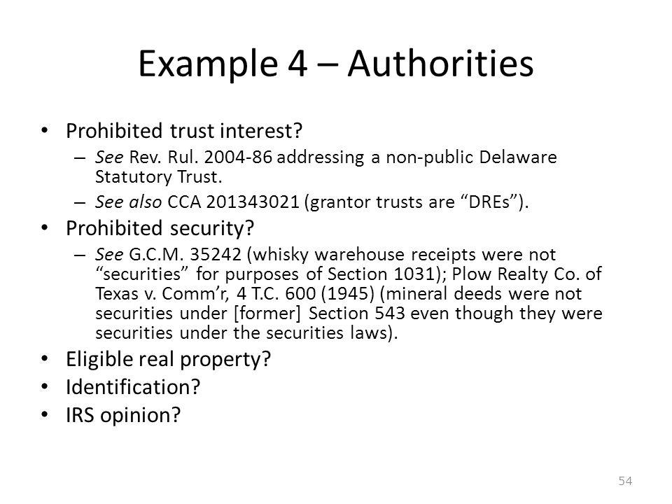 Example 4 – Authorities Prohibited trust interest.