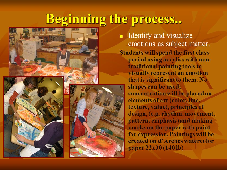 Beginning the process.. Identify and visualize emotions as subject matter.