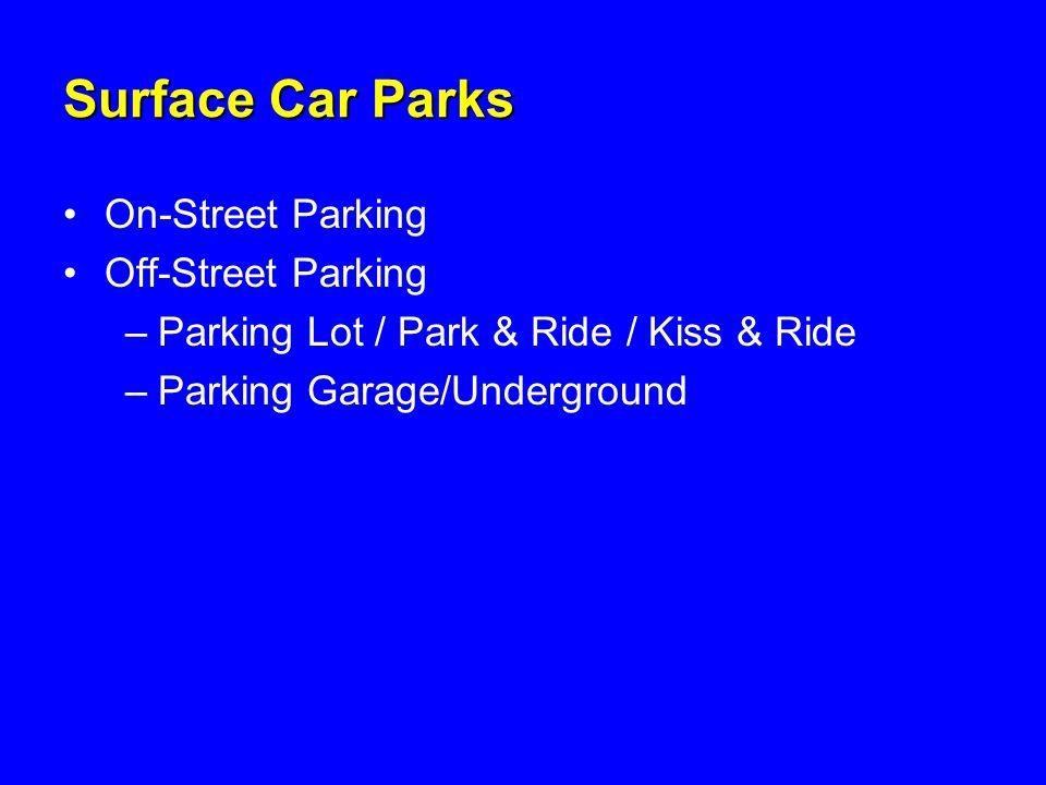 Surface Car Parks On-Street Parking Off-Street Parking –Parking Lot / Park & Ride / Kiss & Ride –Parking Garage/Underground