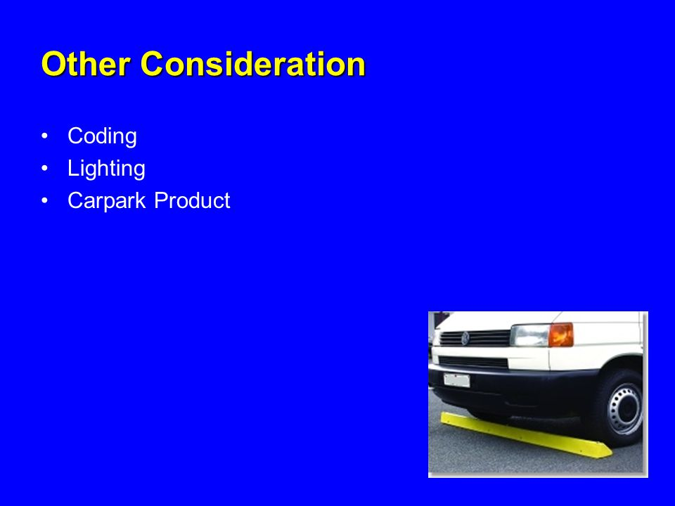 Other Consideration Coding Lighting Carpark Product
