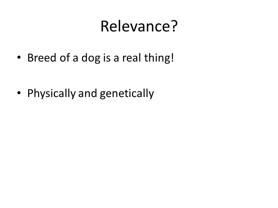 Relevance Breed of a dog is a real thing! Physically and genetically