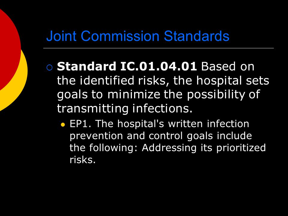 Joint Commission Standards  NPSG.07.03.01 Implement evidence-based practices to prevent health care–associated infections due to multidrug-resistant organisms in acute care hospitals.
