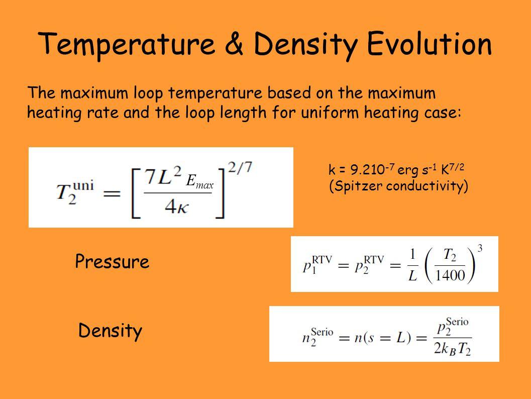 Temperature & Density Evolution The maximum loop temperature based on the maximum heating rate and the loop length for uniform heating case: Pressure Density k = 9.210 -7 erg s -1 K 7/2 (Spitzer conductivity) E max
