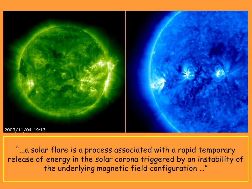 M-Class Flare - STEREO (March, 25 2008) – EUV http://stereo.gsfc.nasa.gov/img/stereoim ages/movies/Mflare2008.mpg X-Class Flare - SOHO (November, 4 2003) http://sohowww.nascom.nasa.gov/gallery/ Movies/EITX27/StormEIT195sm.mpg ...a solar flare is a process associated with a rapid temporary release of energy in the solar corona triggered by an instability of the underlying magnetic field configuration …