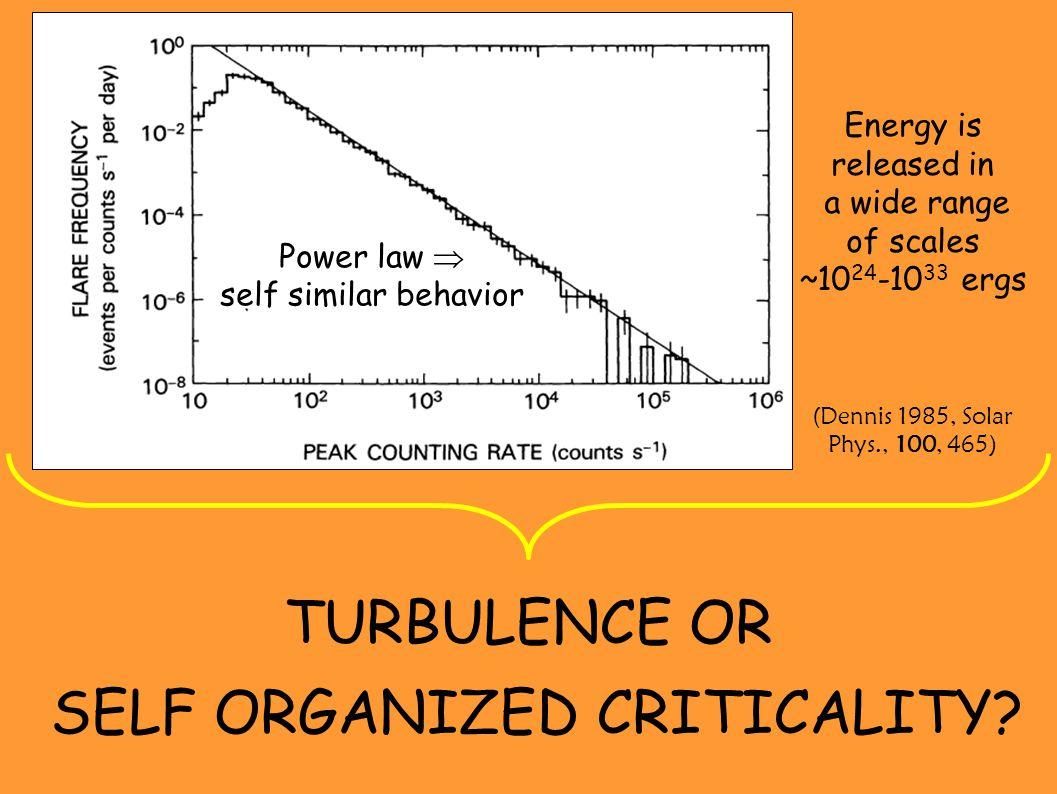 TURBULENCE OR SELF ORGANIZED CRITICALITY.