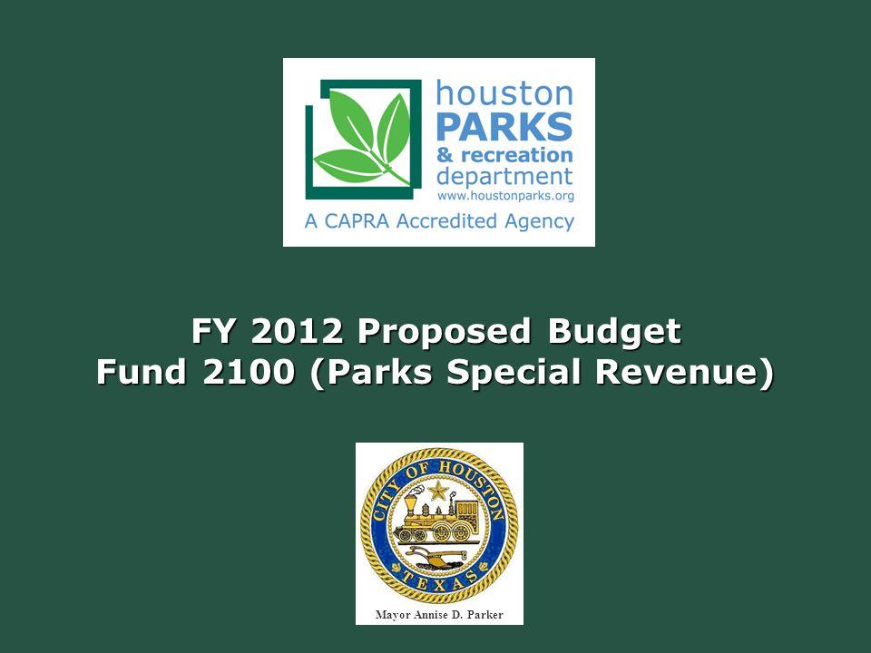 FY 2012 Proposed Budget Fund 2100 (Parks Special Revenue) Mayor Annise D. Parker
