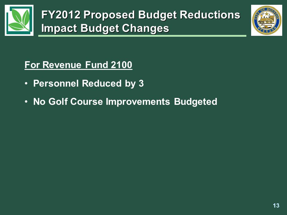 For Revenue Fund 2100 Personnel Reduced by 3 No Golf Course Improvements Budgeted FY2012 Proposed Budget Reductions Impact Budget Changes 13