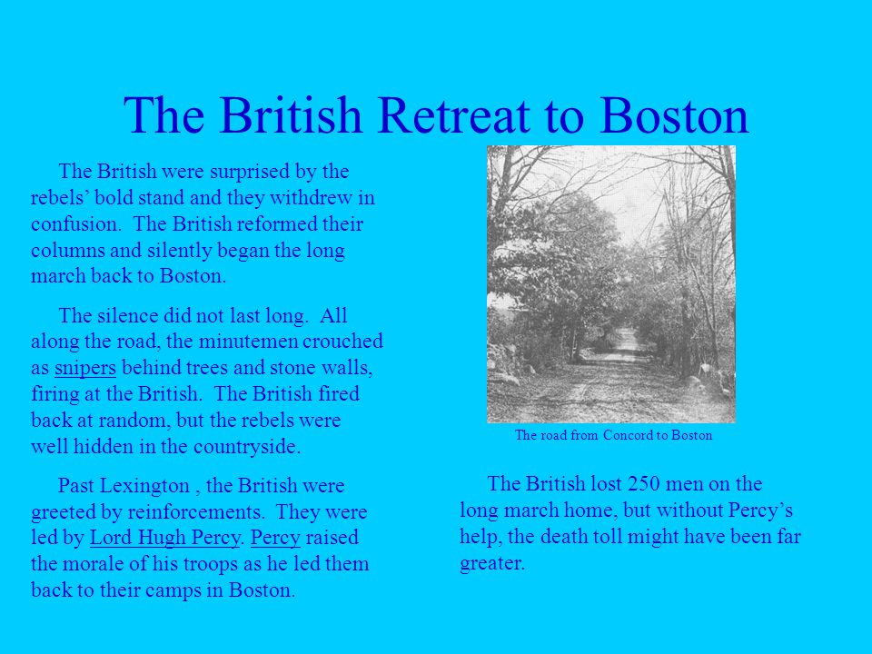 The British Retreat to Boston The British were surprised by the rebels' bold stand and they withdrew in confusion.