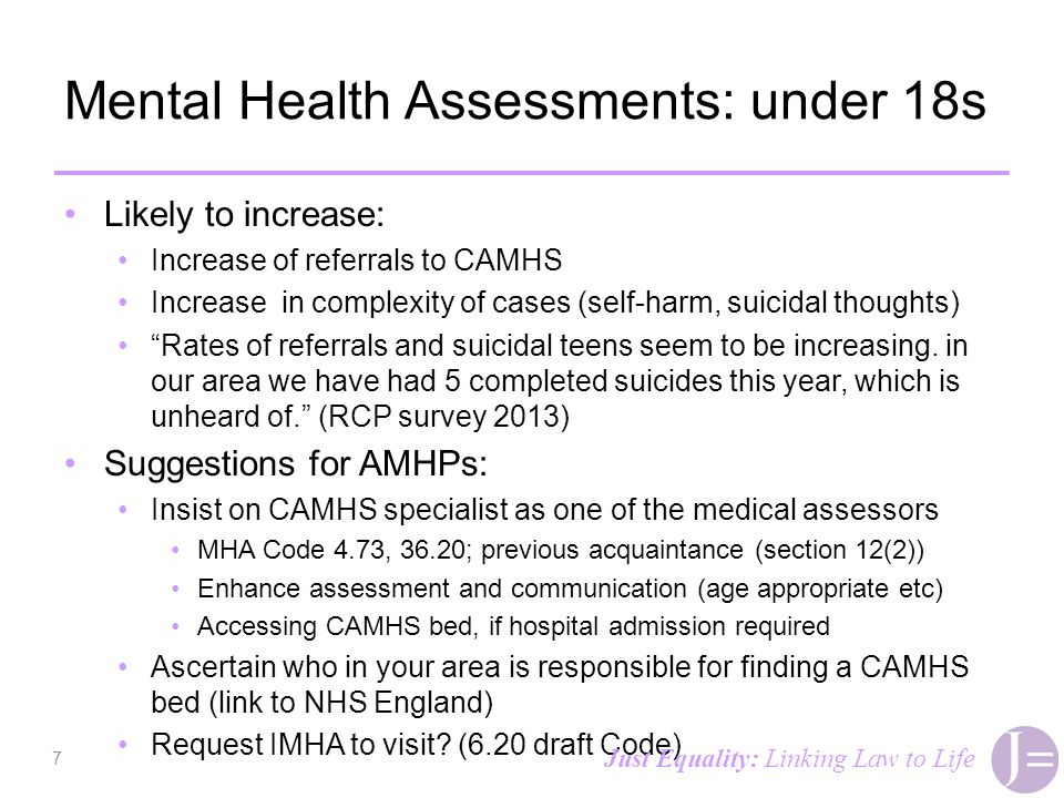 Mental Health Assessments: under 18s Likely to increase: Increase of referrals to CAMHS Increase in complexity of cases (self-harm, suicidal thoughts)